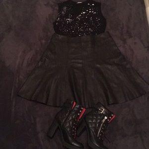 Designer Leather Skirt